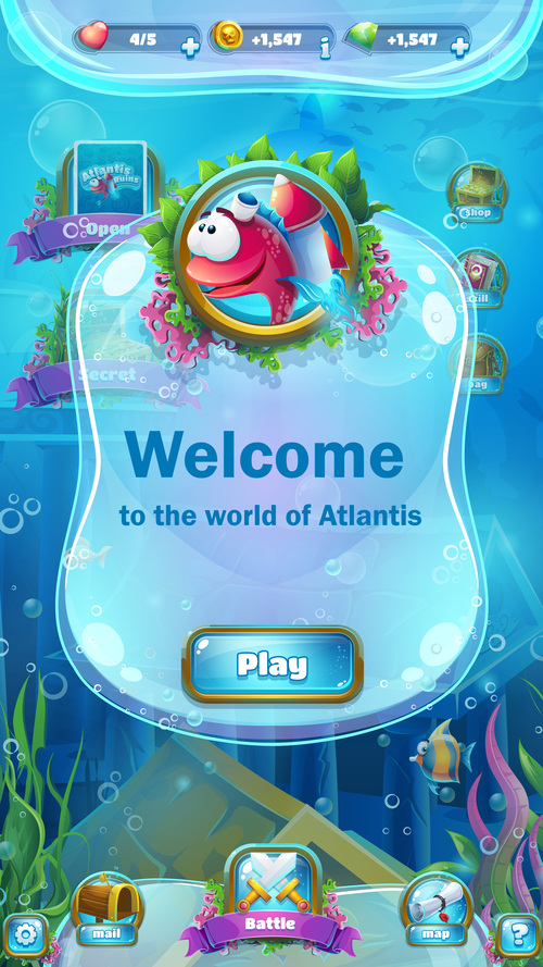 Game welcome interface design vector