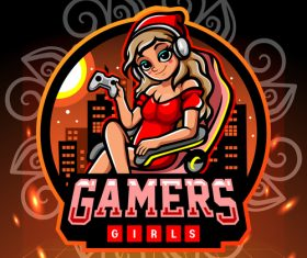 Gamers girls game emblem design