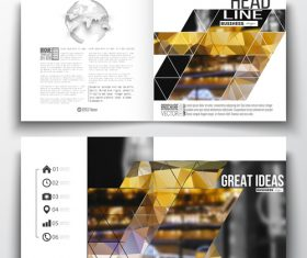 Geometric booklet cover design template vector