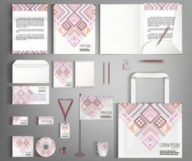 Geometric cover corporate stationery collection vector