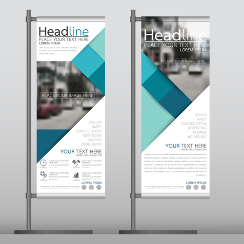 Geometric pattern business stand banner vector