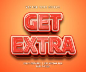 Get extra text 3d red style text effect vector