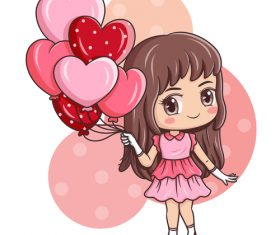 Girl cartoon illustration vector holding heart shaped balloon
