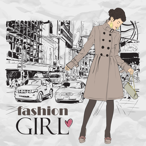 Girl in a trench coat hand drawn vector