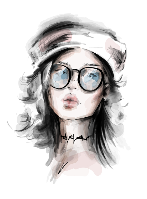 Girl portrait watercolor painting vector