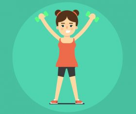 Girl sport cartoon illustration vector