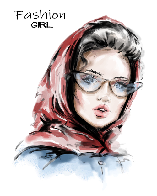 Girl wearing hijab watercolor painting vector