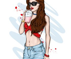Girls fashion clothes and accessories vector
