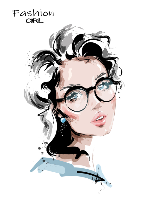 Glamour girl watercolor painting vector