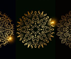 Glitter golden mandala pattern vector