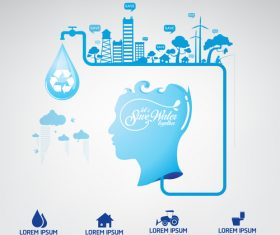 Global concept water infographic vector