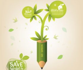 Go green concept infographic vector