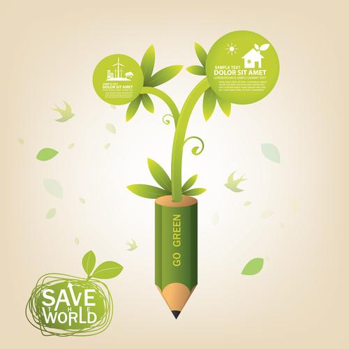 Go green concept infographic vector