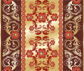Golden background red floral pattern decoration vector background