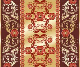 Golden background red floral pattern decoration vector background