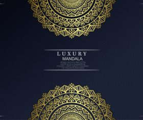 Golden mandala decoration pattern vector on black background
