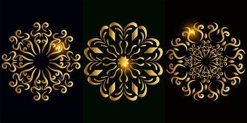 Golden mandala pattern vector