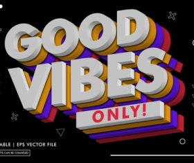 Good vibes text style vector