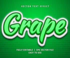 Grape text 3d green style text effect vector