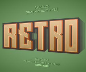 Graphic Retro 3d text style effect vector