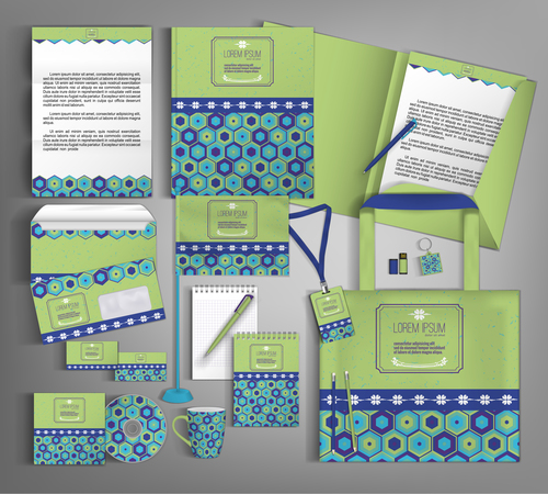 Green and blue cover corporate stationery collection vector