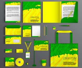 Green and yellow cover corporate identity stationery collection vector
