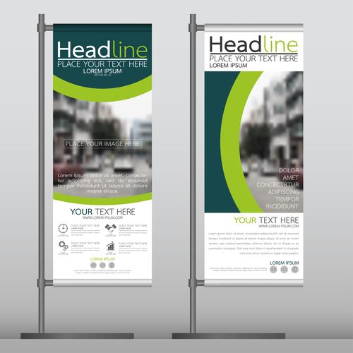 Green blue business stand banner vector