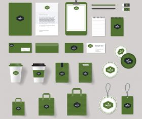 Green coffee shop brand set design vector