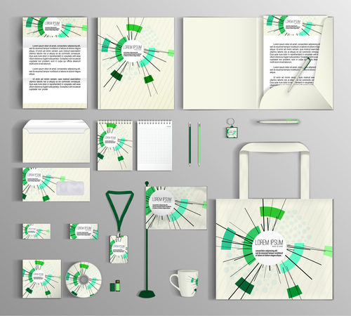 Green corporate identity collection vector