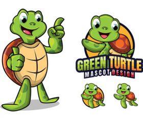 Green turtle cartoon design vector