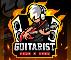 Guitarist rock n roll game emblem design