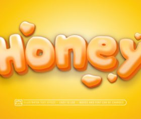 HONEY 3d text style effect vector