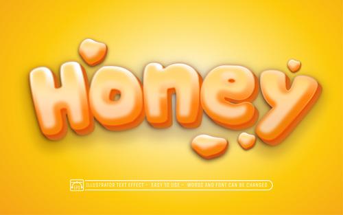 HONEY 3d text style effect vector