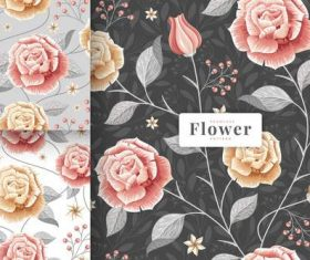 Hand drawn flowers pattern vector