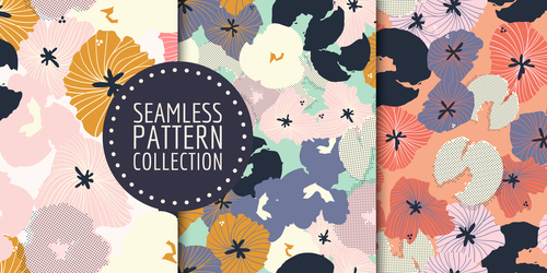 Hand drawn seamless pattern set vector
