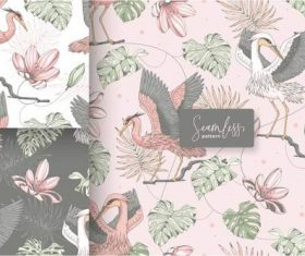 Hand drawn vintage tropical floral seamless pattern vector