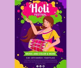 Happy Holi festival bright design poster vector