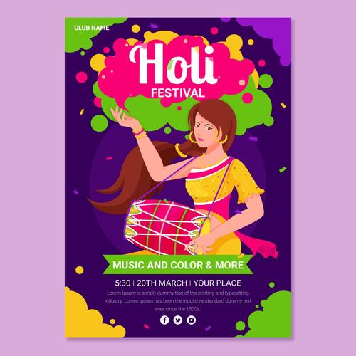 Happy Holi festival bright design poster vector