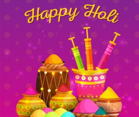 Happy Holi festival poster vector