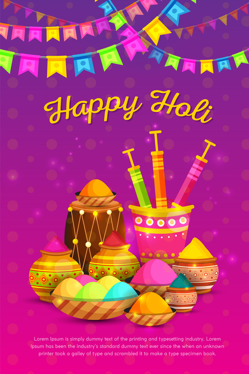 Happy Holi festival poster vector