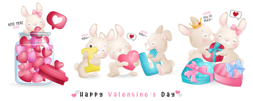 Happy bunny Valentines day theme greeting card vector