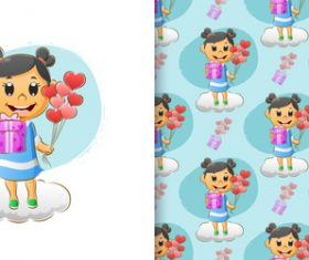 Happy girl cartoon seamless background vector