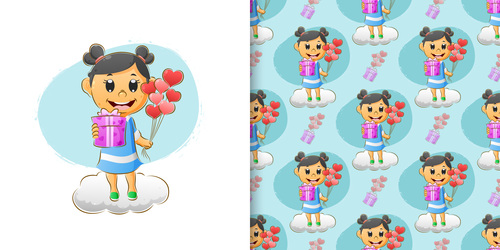 Happy girl cartoon seamless background vector