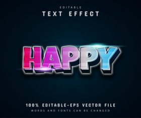 Happy text colorful gradient style text effect vector