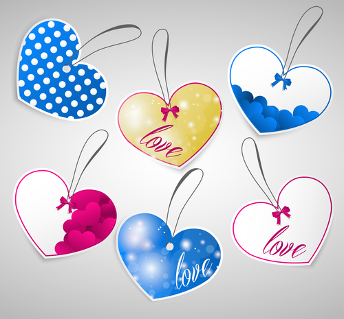 Heart shaped colorful label design vector