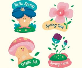 Hello spring cartoon illustration vector