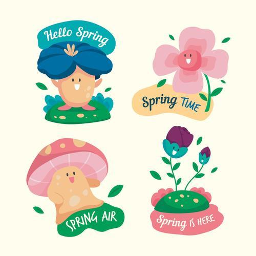 Hello spring cartoon illustration vector