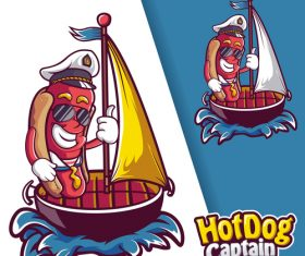 Hot dog captain logo vector