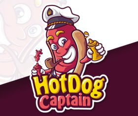 Hot dog captain mascot logo vector