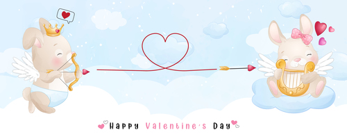 I love you Valentines Day theme greeting card vector